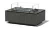 Rectangle Gas Fire Pit: Shown in powder coat oxidized aluminum zinc patina with glass surround and ultimate granite top