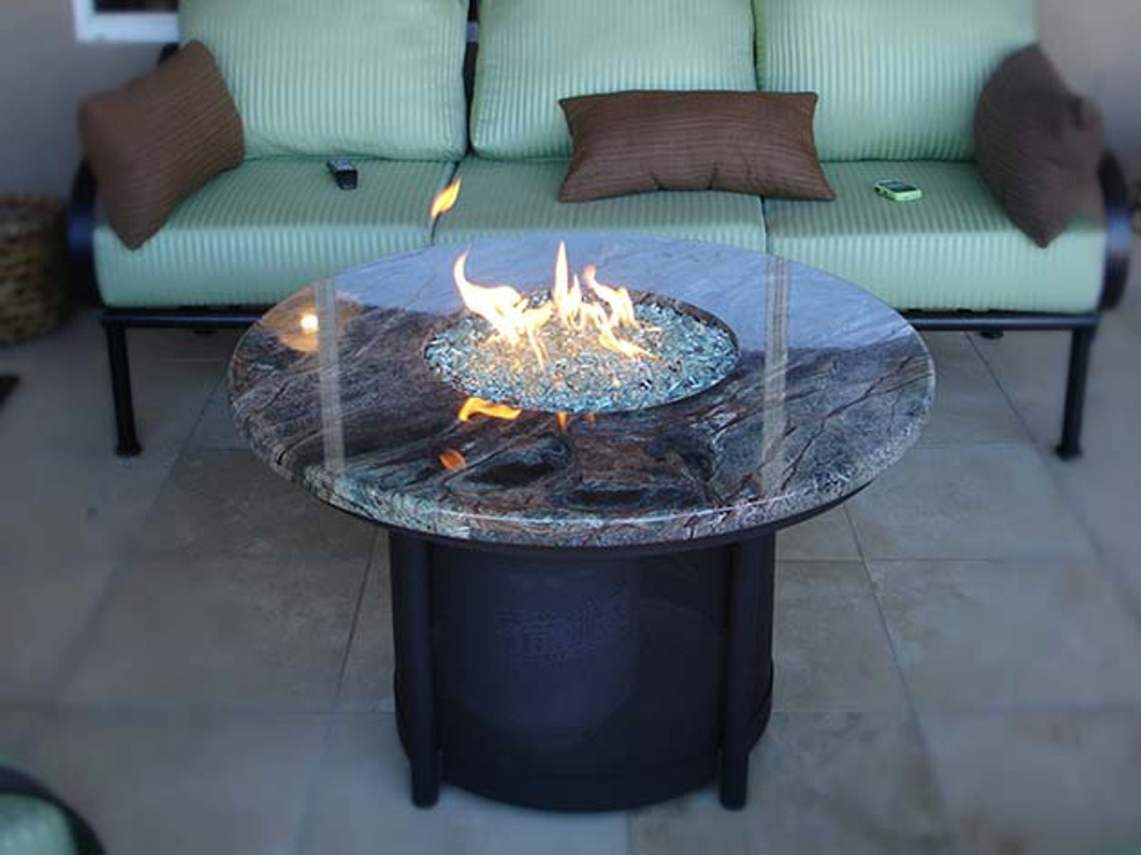 Round Fire Pit Table - Black propane fire pit table