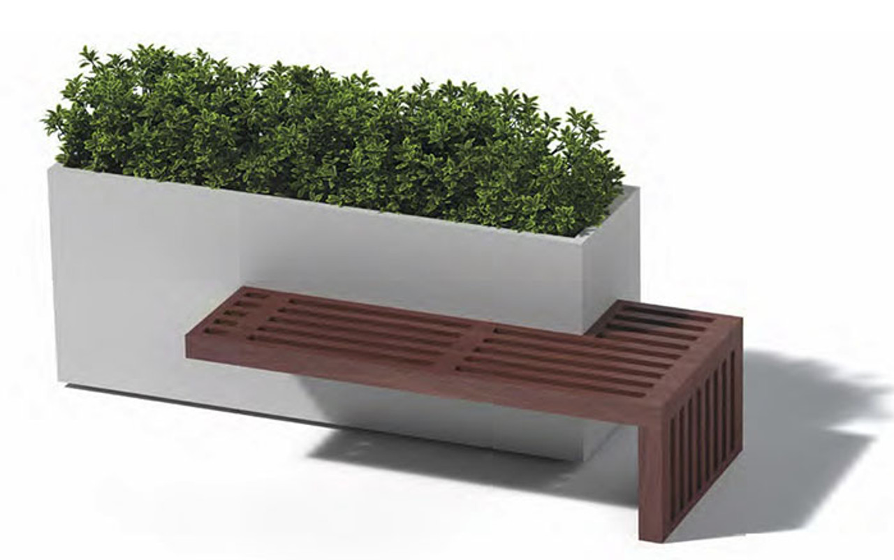 Linear Planter Bench: As Shown Powder Coated Aluminum With One Ipe Wood  Bench Seat.