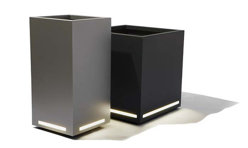 Modern LED Planter: Shown with  LED Face Lighting on Powder Coated Aluminum Column and Cube