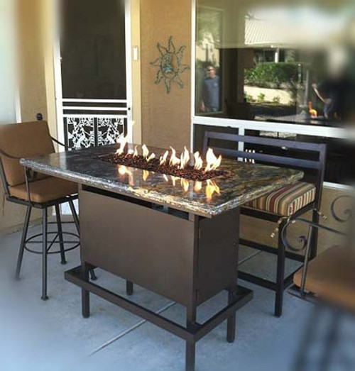 Bar Height Propane Fire Pit Table   Powder Coated Steel Black Frame With St  Cecilia Granite