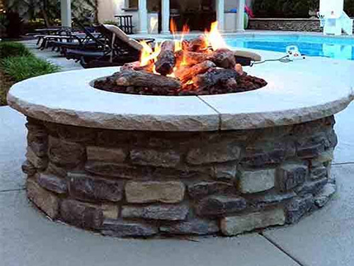 ... DIY Ready To Finish Gas Fire Pit Kit- As shown finished product with  stone veneer ... - Round Ready To Finish Fire Pit Kit