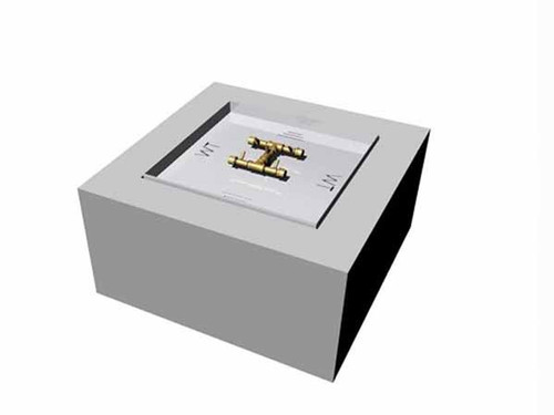 """Warming Trends Gas Ready to finish fire pit kit- Square shown with aluminum frame construction 2"""" pan side walls and crossfire all brass burner system."""