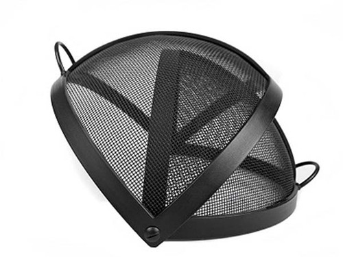 Round Fire Pit Spark Screen: As shown carbon with pivot opening in steel  black high - Fire Pit Burner Kits - Wood Burning & Gas Fire Pit Accessories