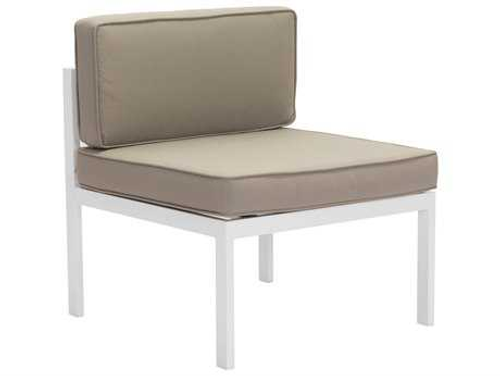 Golden Beach Middle Chair. Shown with low profile galvanized steel aluminum in a powder coated bright white with taupe cushions. (angled view)