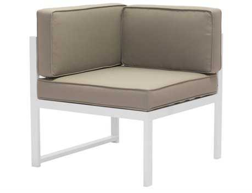Golden Beach Corner Sectional: As shown brilliant white low profile galvanized aluminum  frame with tuape cushions. (front view)