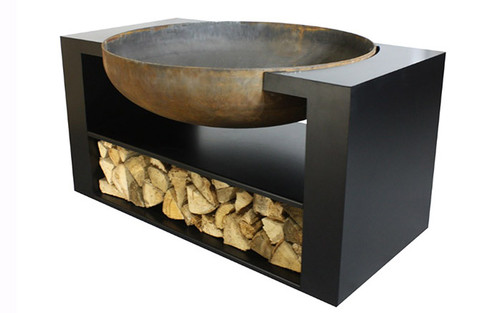 """Albion Contemporary Metal Wood Burning Fire Pit- As shown 11 gauge natural rust steel 36"""" fire bowl and flat black powder coated base compartment.  (Side View)"""