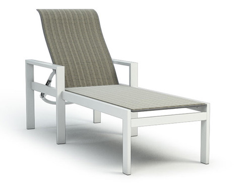 Homecrest Grace Aluminum Adjustable  Chaise Lounge- AS shown with arm rests in a sling Bossa Nova fabric and Glacier powder coated aluminum frame