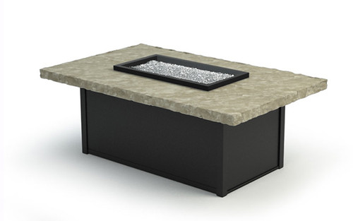 Homecrest Rectangular Outdoor Sandstone Fire Table- As shown with the Dune sandstone top and the Onyx powder coated aluminum base.
