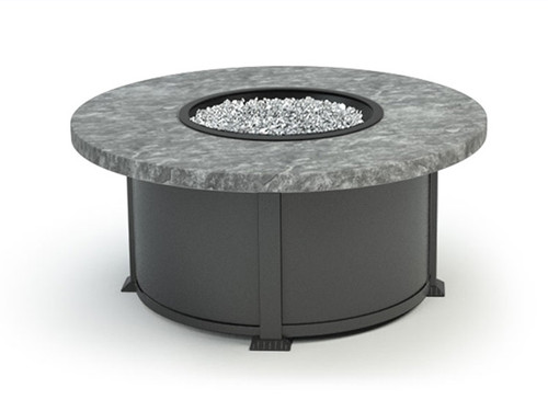 "Homecrest""s 42 Inch Sandstone  Round Gas Fire Table- As shown Drift sandstone table top and Carbon aluminum powder coated frame."