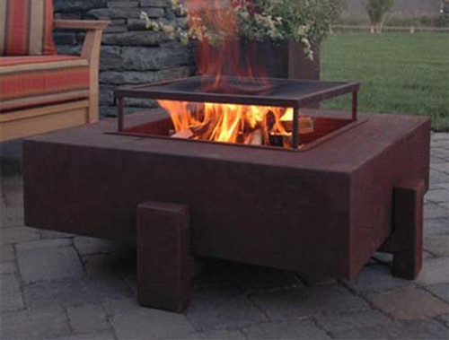 Square Fire Pit - Wood Burning option with Corten Steel finish Natural Rust  Patina. - Square Steel Fire Pit - 34