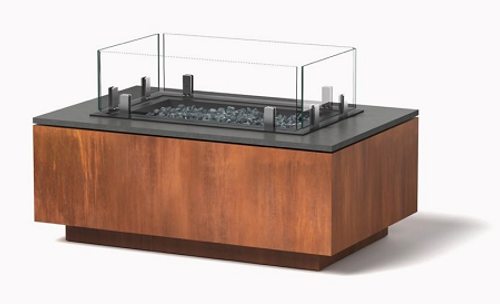 Rectangle Gas Fire Pit: Shown in natural corten steel rust patina, black granite top and glass surround.
