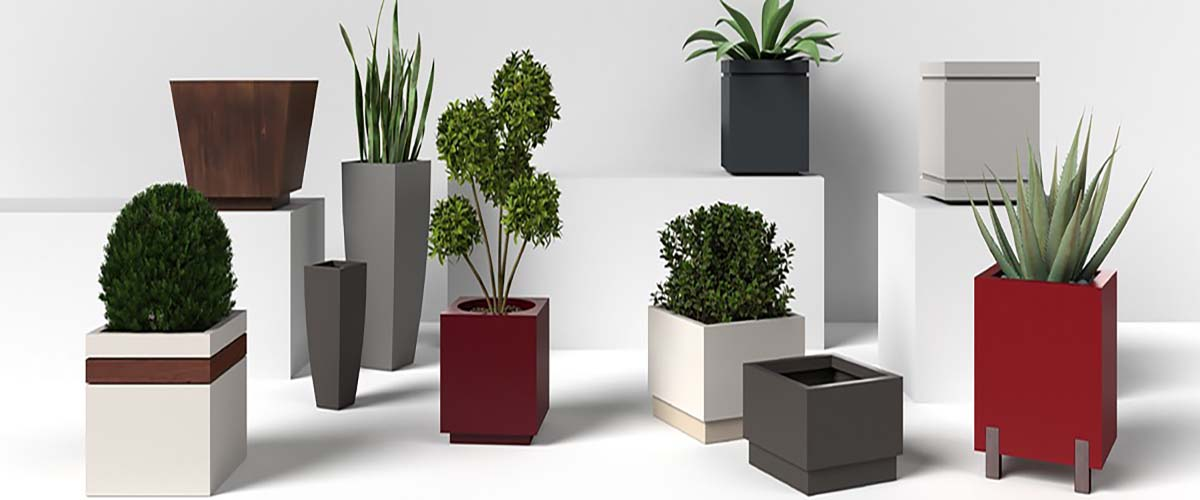 Modern Aluminum And Steel Planters