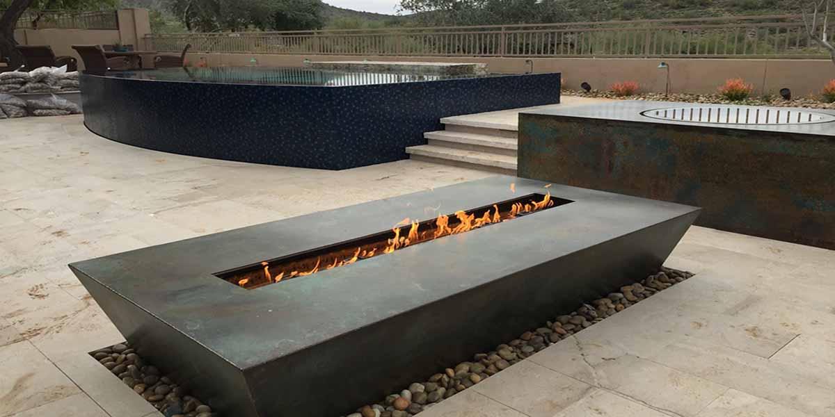 Modern Gas Fire Pits Custom Metal Planters Patio