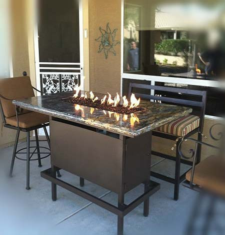 Charmant Bar Height Propane Fire Pit Table   Powder Coated Steel Black Frame With St  Cecilia Granite ...