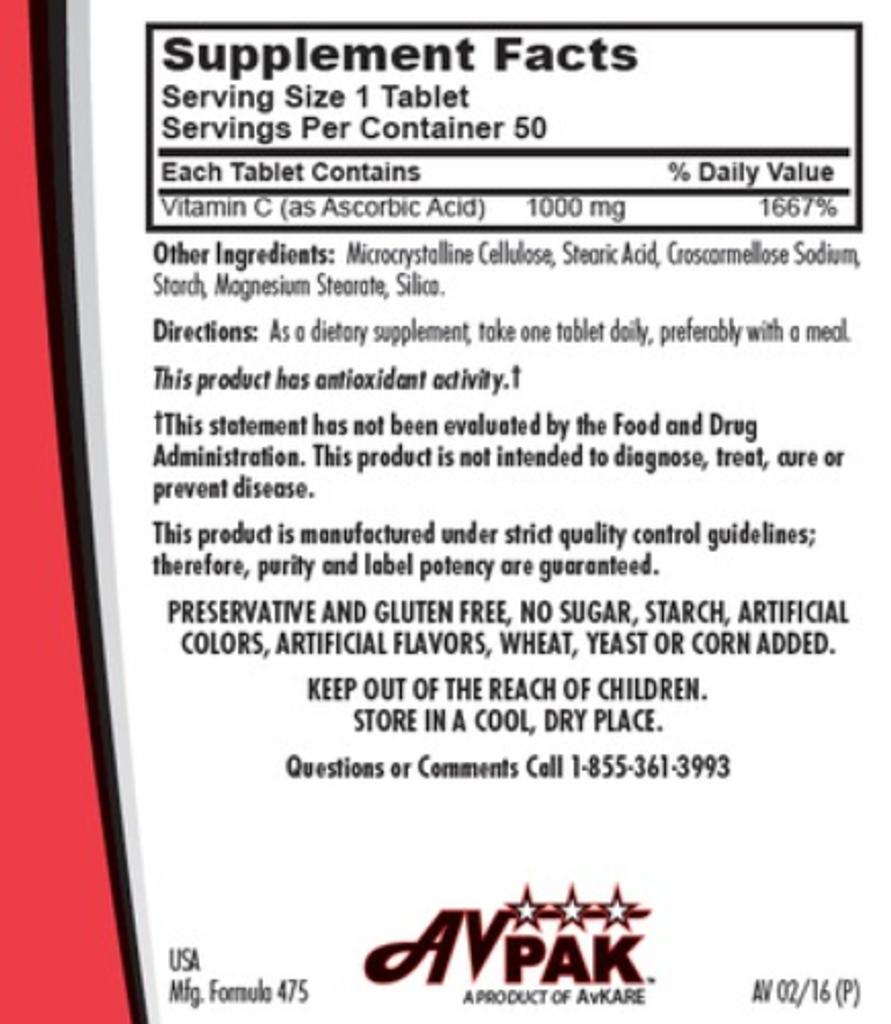 AvKARE Vitamin C Ascorbic Acid 1000mg 5X10 UD 50 Tablets Dietary Supplement