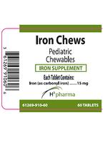 H2 Pharma IRON CHEWS 15mg iron pentacarbonyl 60 chewable tablets