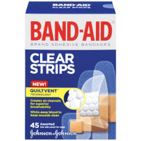 Band-Aid Clear Strips Comfort-Flex Adhesive Bandages Assorted Sizes 45 Count