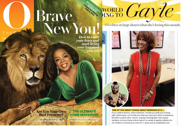 Lisa Freede jewelry on Gayle King in Oprah Magazine January 2015