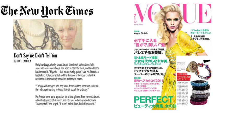 Lisa Freede jewelry in The New York Times and in Vogue Magazine Japan July 2011