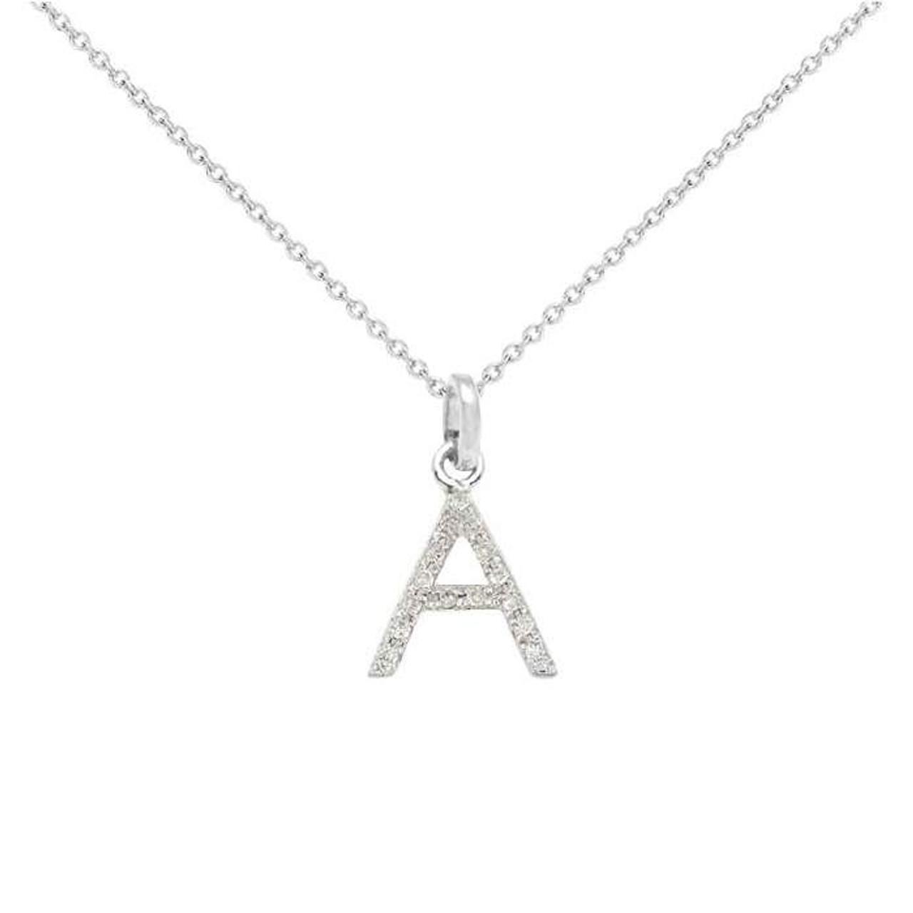 Diamond initial necklace 14k gold diamond initial necklace 14k white gold aloadofball Choice Image