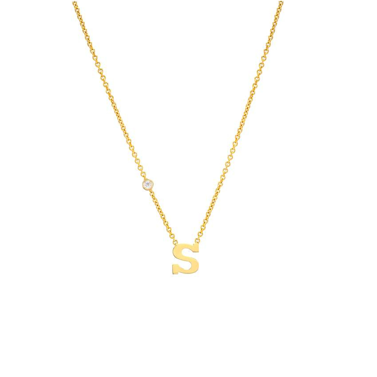 14k gold initial and bezel diamond necklace letter with bezel diamond 14k yellow gold necklace aloadofball Image collections