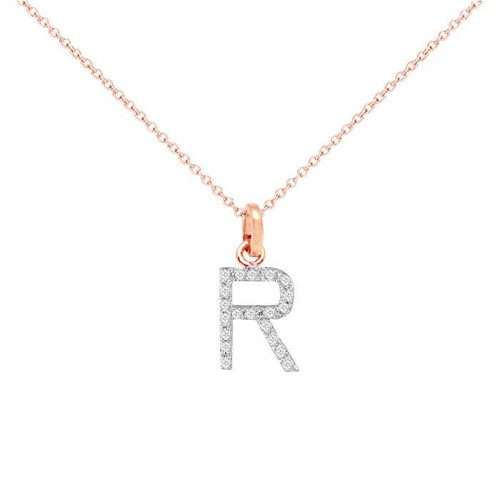 Diamond initial necklace 14k gold diamond initial necklace 14k rose gold aloadofball Gallery