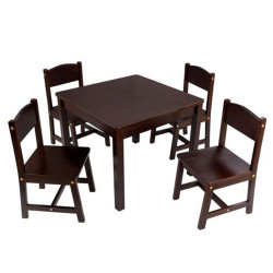 kidkraft dark wood table and chairs