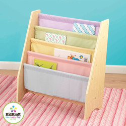 kidkraft sling bookshelf pastel colours