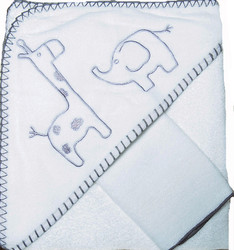 emotion and kids white safari towel and face washer set