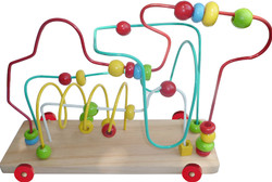 Kids Wooden Bead Maze on Wheels
