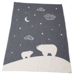 David Fussenegger Finn Cot Blanket - Charcoal Polar Night Sky