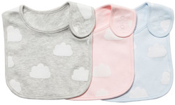 emotions and kids grey, pink and blue 3 cotton baby bibs