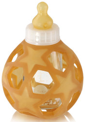 Hevea Baby Glass Feeding Bottle with Star Ball - white