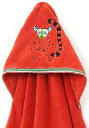 Breganwood Organics Baby & Toddler Hooded Towel - Rainforest Collection - Happy Lemur