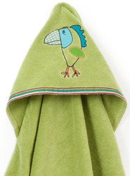 Breganwood Organics Baby & Toddler Hooded Towel - Rainforest Collection - Funny Bird