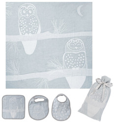 Breganwood Organics Muslin Swaddle Set - Prairie Collection - Grey Owl