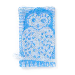 Breganwood Organics Wash Mitt - Prairie Collection Owls - Blue Owl