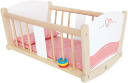 Hape Rock-a-bye Wooden Baby Doll Cradle