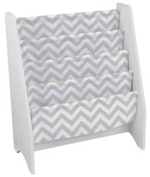 White Sling Bookshelf - Gray Pattern