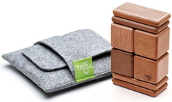 Tegu Pocket Pouch Magnetic Travel Blocks  - Mahogany