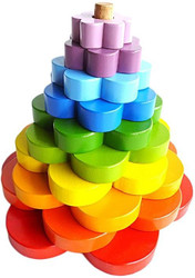 Qtoys Rainbow Stacking Flowers Puzzle set