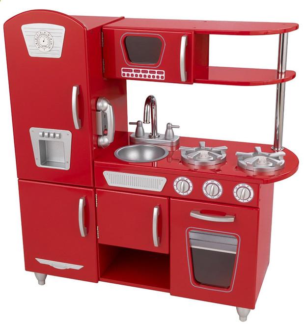 Kids Retro Wooden Toy Kitchen In Red