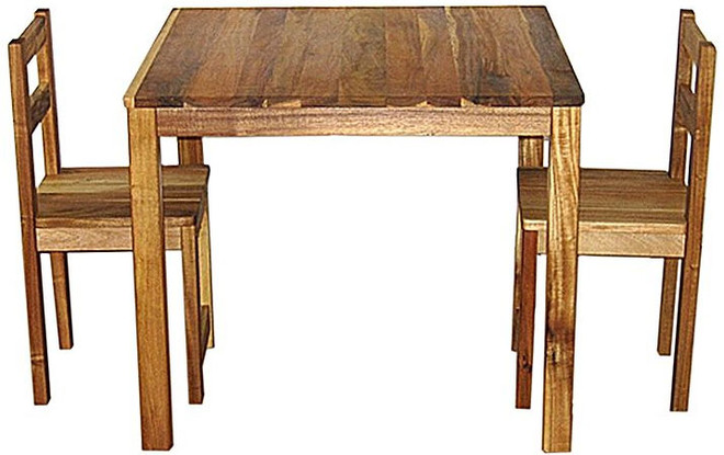 qtoys acacia table and standard chairs