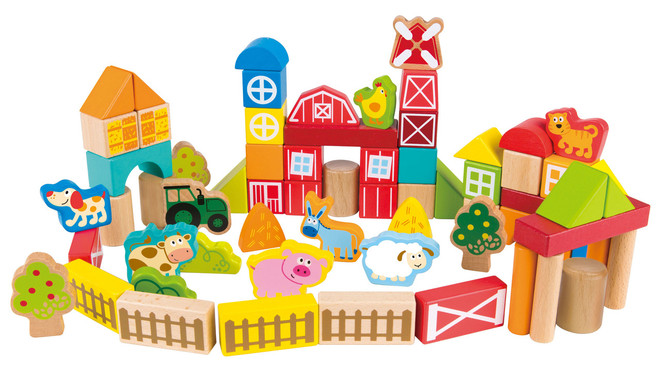 Hape On the Farm Building Block Set - 65 Pcs