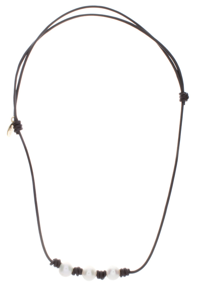 Necklace Leather and Pearl Beach Pearl 2#