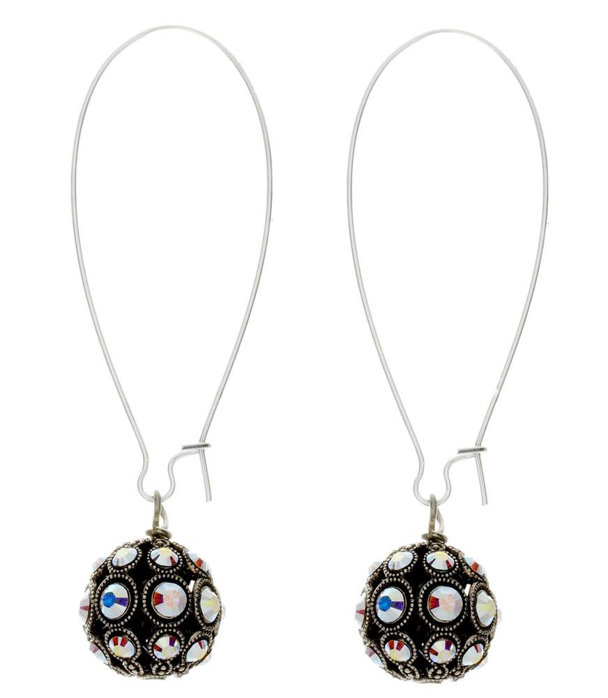 Crystal Filigree Ball Earrings