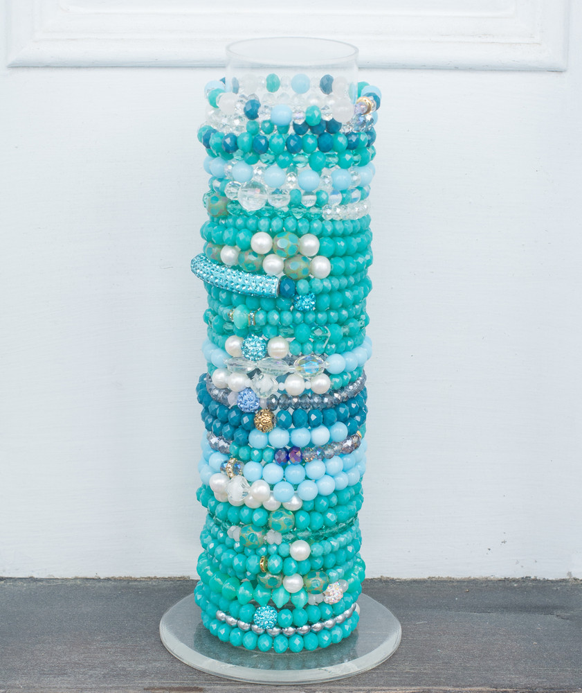 Stack bracelets come in sets of 5.  Each stack will be a mixed combination of crystal beads in an assortment of shades of the selected color.