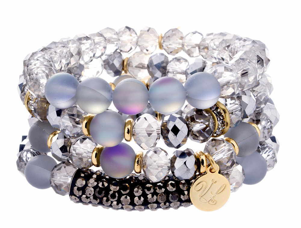 Stretch Bracelets - Set of 4 - Greys