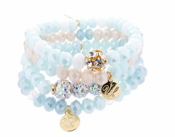 Stretch Bracelets - Set of 4 - Blues
